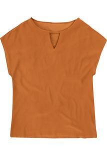 Blusa Mangas Curtas Com Decote Vazado