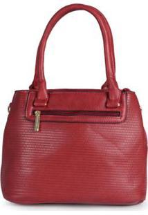Bolsa Básica Feminina Textura Vermelho Vermelho