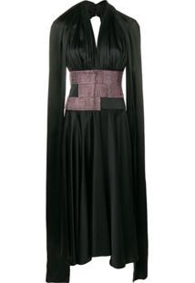 Christopher Kane Vestido Frente Única De Cetim Com Cristais - Preto