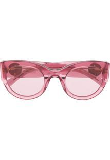 Versace Eyewear Óculos De Sol Oval - Rosa