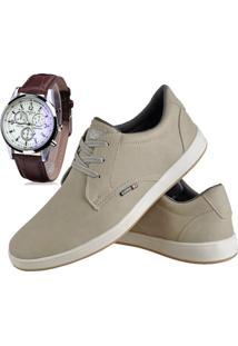 Sapatênis Sapato Casual Com Relógio Cr Shoes Com Cadarço 1510L Areia Bege