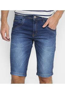 Bermuda Jeans Zune Estonada Masculina - Masculino-Azul