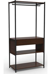 Guarda-Roupa Modulado Closet Com Gaveta Iron Wood-Mappin - Amendoa / Preto