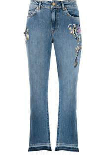 Escada Sport Calça Jeans Cropped Com Bordado - Azul