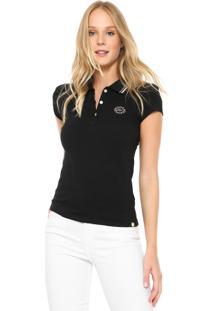 ... Camisa Polo Lunender Bordada Preta 256d7ba06769e