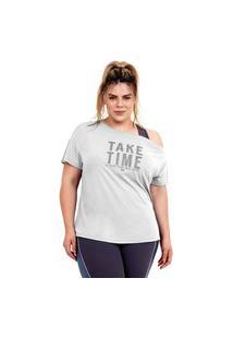 T-Shirt Alto Giro Skin Fit Ombro Caído Plus