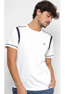 Camiseta Lacoste Manga Curta Masculina - Masculino-Branco+Marinho