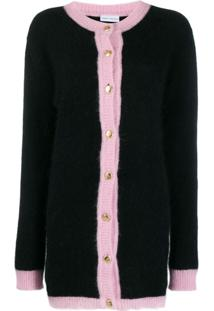 Chiara Ferragni Pink Trim Knitted Cardigan - Preto
