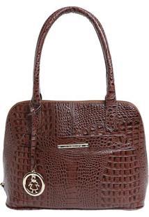 Bolsa De Mão Em Couro Com Bag Charm - Marrom - 31X24Di Marlys