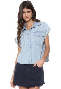 Camisa Cropped Jeans My Favorite Thing(S) Estonada Azul