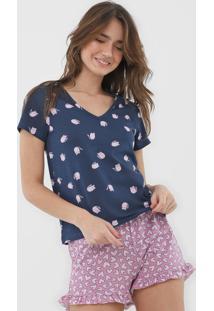 Short-Doll Hering Estampado Azul-Marinho/Rosa