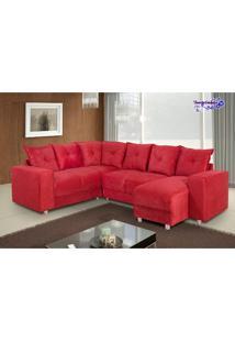Sofá De Canto 6 Lugares 5070 Com Chaise Tecido Suede Vermelho Almofadas Soltas