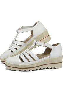 Sandália Plataforma Em Couro Sapatofran Com Velcro Feminina - Feminino-Branco