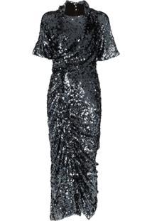 Preen By Thornton Bregazzi Vestido Midi Sophia Com Franzido E Aplicação De Paetês - Azul