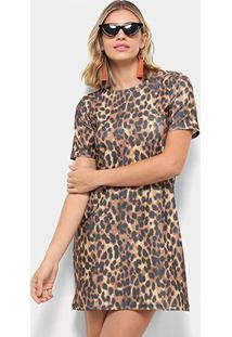 bf429627ee20 Vestido Marrom Flor Animal Print Onça T-Shirt Dress - Feminino-Marrom Zuu