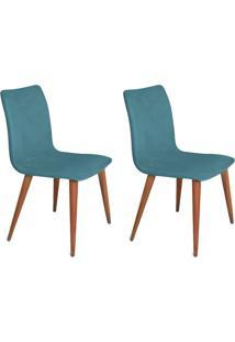 Conjunto Com 2 Cadeiras Luanda Veludo Azul