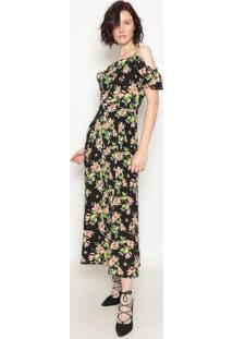 Vestido Longo Floral - Preto & Rosa- Operateoperate