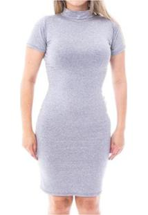 Vestido Moda Vicio Justo Manga Curta Gola Alta Feminino - Feminino-Mescla