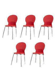 Kit 5 Cadeiras Luna Assento Vermelho Base Cromada - 57707 Preto