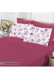 Jogo De Cama Floral Queen Size- Pink & Branco- 3Pçs