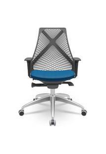 Cadeira Office Bix Presidente Base Piramidal Assento Azul 100Cm - 62714 Azul
