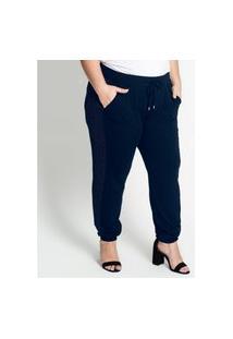 Calça Feminina Plus Size Jogger Secret Glam Azul