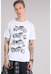 "Camiseta Masculina ""Cafe Racer"" Manga Curta Gola Careca Cinza Mescla Claro"