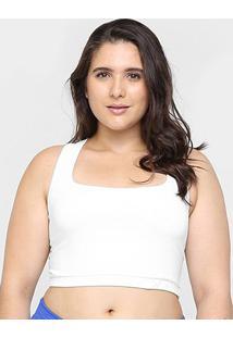 Top Plus Size Fila Mesh Média Sustentação - Feminino-Branco
