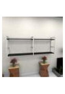 Estante Estilo Industrial Sala Aço Cor Branco 180X30X68Cm (C)X(L)X(A) Cor Mdf Preto Modelo Ind36Psl