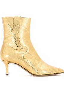 Emporio Armani Bota De Couro Metalizada - Dourado