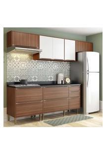 Cozinha Modulada Multimóveis 5456 Calábria 6 Peças Nogueira/Branco