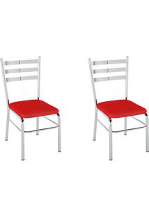 Kit 2 Cadeiras Pc09 Assento Vermelho - Pozza