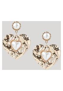 Brinco Feminino Coração Com Pérolas Dourado