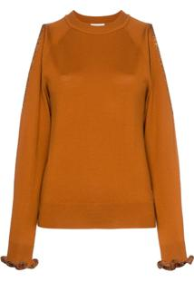 See By Chloé Cut Out Shoulder Wool Jumper - Laranja