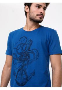 Camiseta Azul Âncora E Polvo