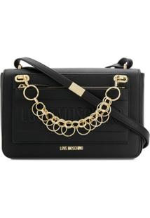Love Moschino Logo Chain-Detail Shoulder Bag - Preto