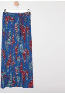 Saia Longa Com Fendas- Azul Escuro & Vermelho- Malwemalwee