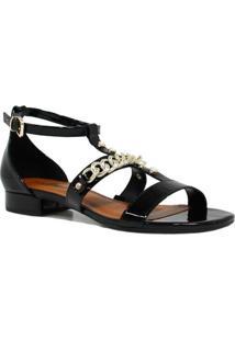Sandália Zariff Shoes Rasteira Metais Fivela - Feminino-Preto