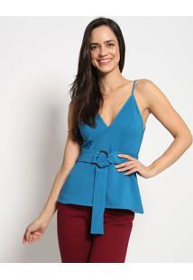 Blusa Com Amarraã§Ã£O - Azul - Colccicolcci