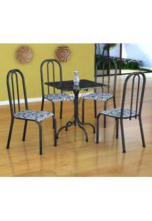 Conjunto De Mesa Malaga Com 4 Cadeiras Madri Preto Prata E Branco Floral
