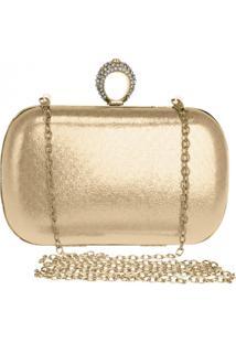 Bolsa Clutch Liage Alça Removível Tecido Metalizado Metal Strass Cristal Pedra Dourada