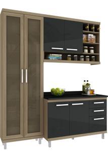 Cozinha New Vitoria 10 Avelã Hecol Móveis Marrom/Preto