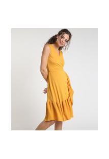 Vestido Feminino Midi Envelope Texturizado Com Babado Sem Manga Mostarda