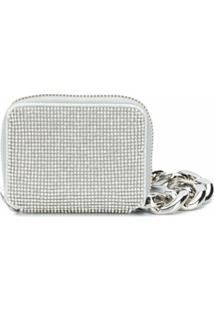 Kara Rhinestone-Embellished Shoulder Bag - Prateado