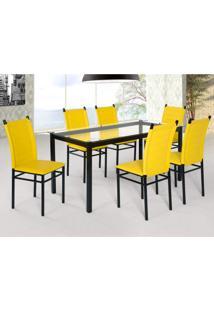 Conjunto Sala De Jantar Tokio Mesa 6 Cadeiras Art Panta Preto/Amarelo