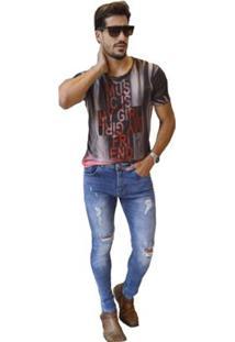 Calça Masculina Sol Jeans Skinny Rasgada - Masculino-Azul