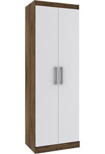 Armário Multiuso Com 2 Portas E 5 Prateleiras D020 – Rodial - Cacau / Branco