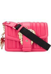 Versace Jeans Couture Bolsa Transversal Matelassê Rosa Com Fivela Central