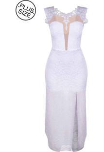 Vestido Outlet Dri Plus Size Longo Alça Grossa Rendado Guippir M Detalhe Tule Branco