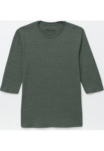 Camiseta Básica Com Manga 3/4